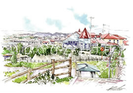 港の見える丘から小名浜を望む