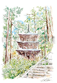 高蔵寺 三重の塔とシャガの花