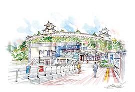 いわき駅と磐城平城(イメージ)